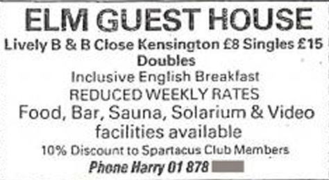 Image result for Spartacus magazine - Brochures for Elm Guest House in the UK advertised discounts for Spartacus members.